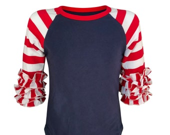 78da710e Girls Ruffle Raglan T-Shirt Navy body with Red and White Stripes Icing Shirt