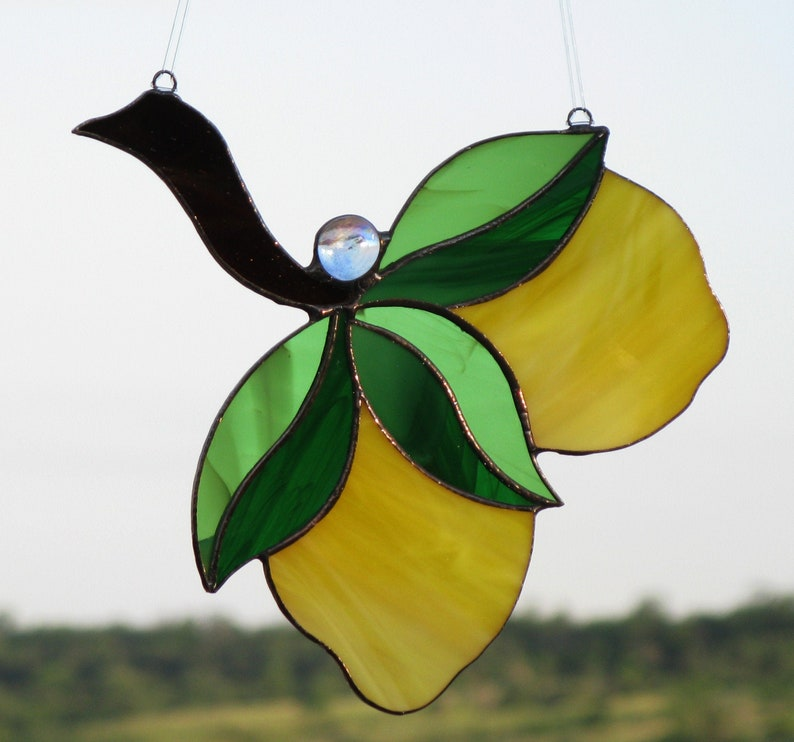 Stained glass lemon Yellow suncatcher window hanging Citrus decor