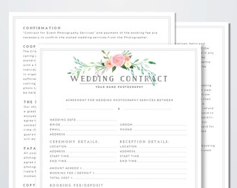 wedding photography contract template client booking form contract wedding contract template wedding photographer contract template