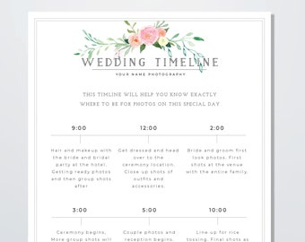 Wedding Day Timeline Template | Wedding Day Timeline Etsy