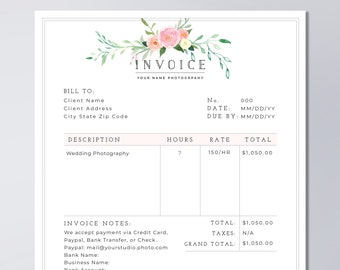photography invoice template printable invoice template photography photographer invoice business invoice template psd instant download