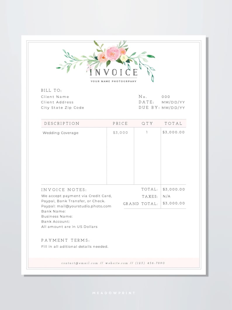 Wedding Photography Invoice: Photography Invoice Template / Printable Invoice Template