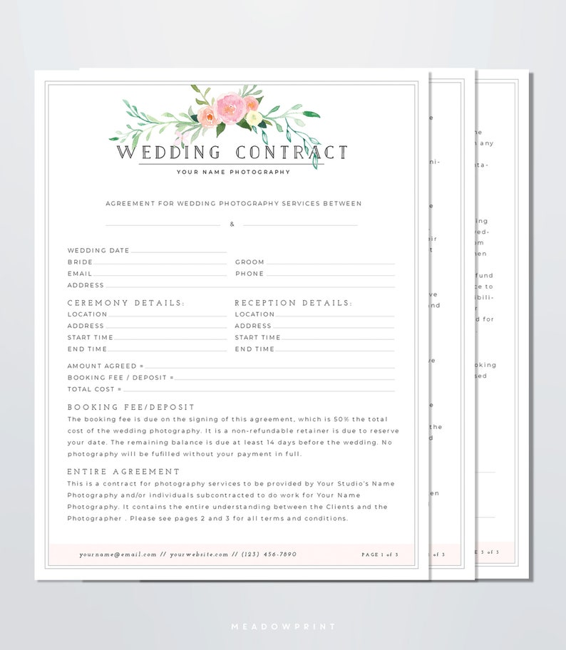 wedding florist contract template.html