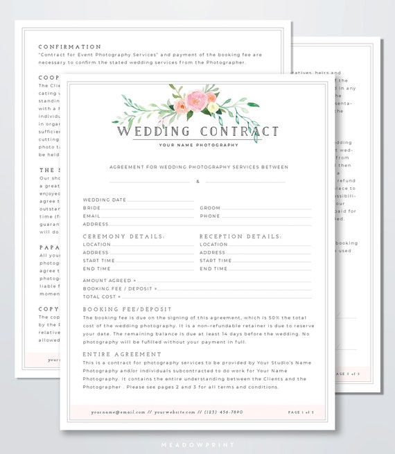 Pographer Contract Template | Wedding Photography Contract Template Client Booking Form Etsy