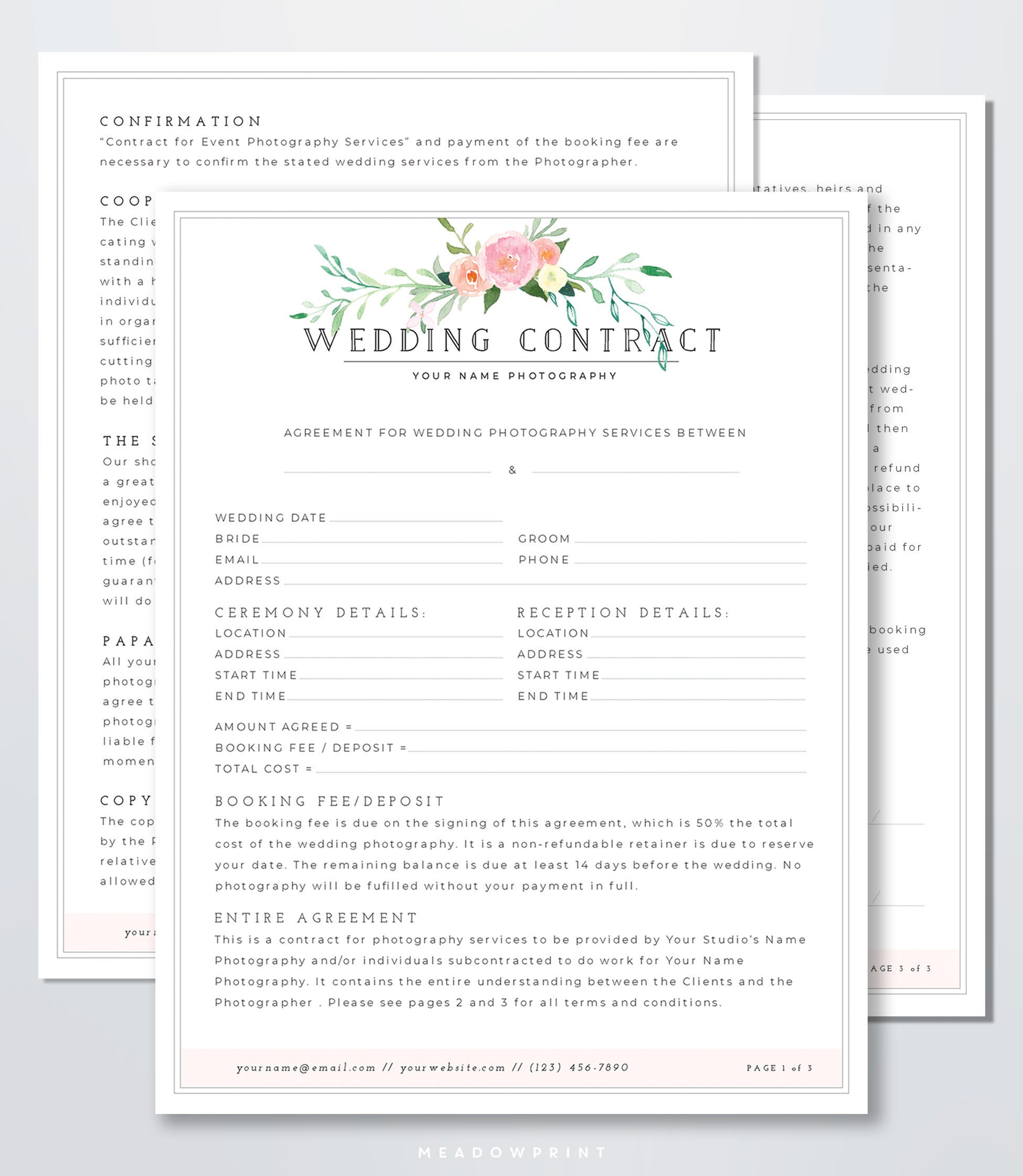 Wedding Photography Contracts Examples: Wedding Photography Contract Template Client Booking Form