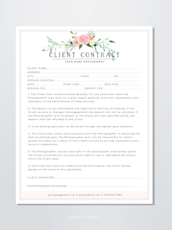 Client Contract Template Photography Form For Photographers Client Agreement Floral Branding Booking Portrait Photography Contract