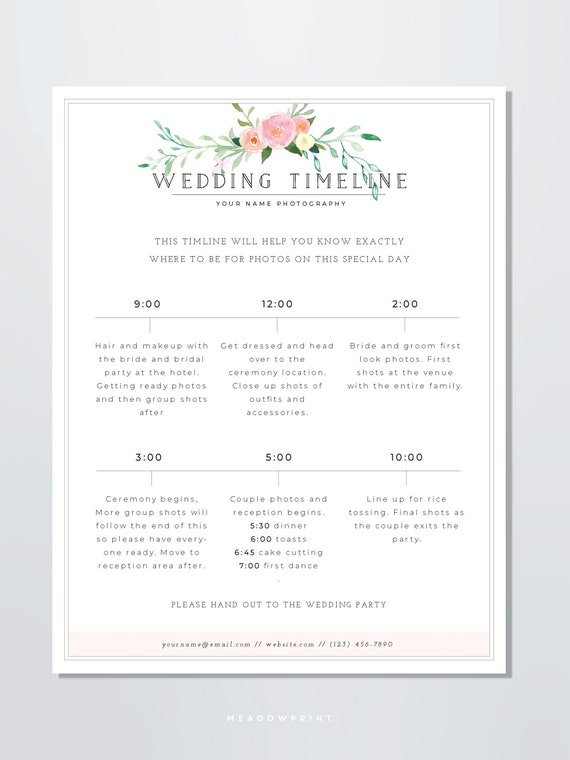 Wedding Photography Timeline Template