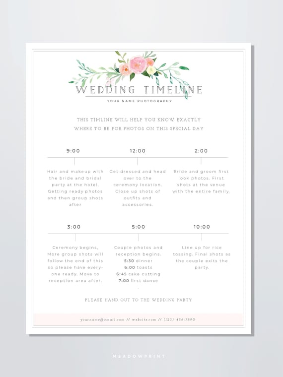 Wedding Photography Timeline Template Wedding Photographer Etsy