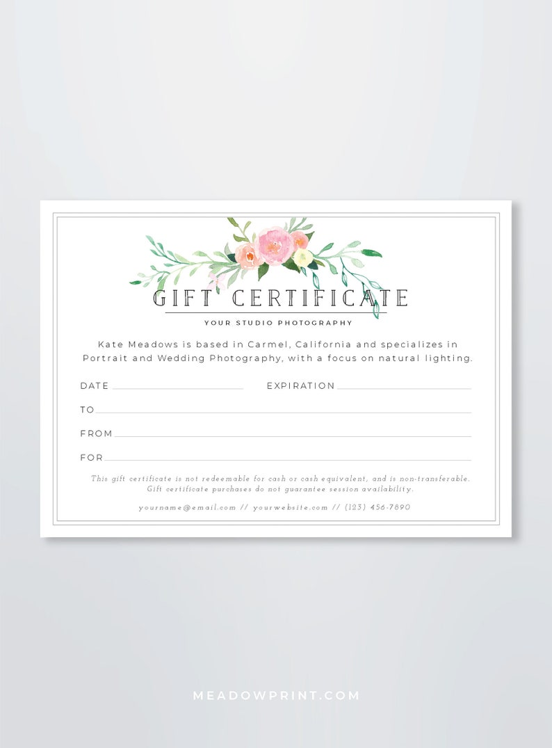Photography Gift Certificate Template Gift Card Template Etsy