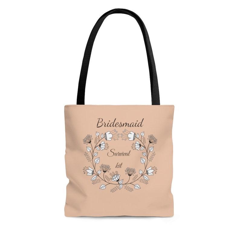 Cute bridesmaid tote bachelorette totes Personalized bridesmaid survival kit tote Bridal party tote bag