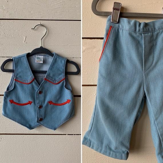 1970s Little Cowboy   Vest + Pants Set   Boys Deni