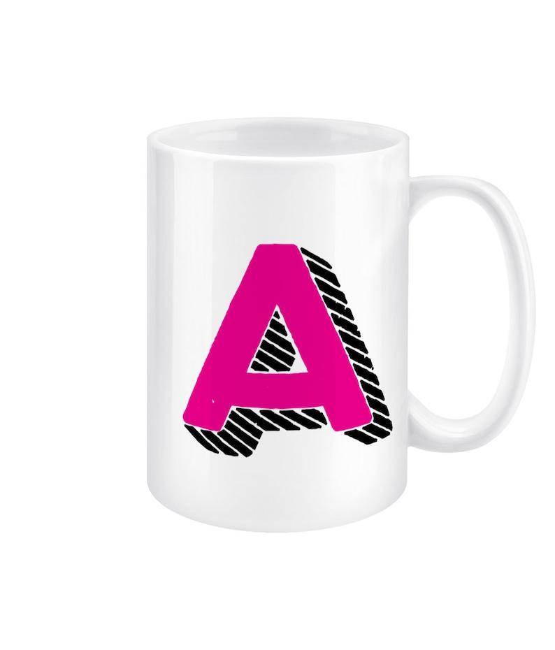 Letter A Monogram Alphabet 15oz Ceramic Mug image 0