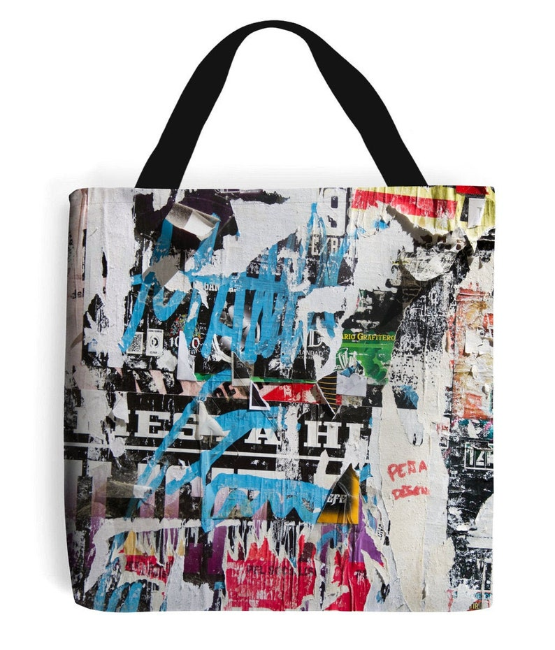 Ripped Posters Pattern Tote Bag image 0