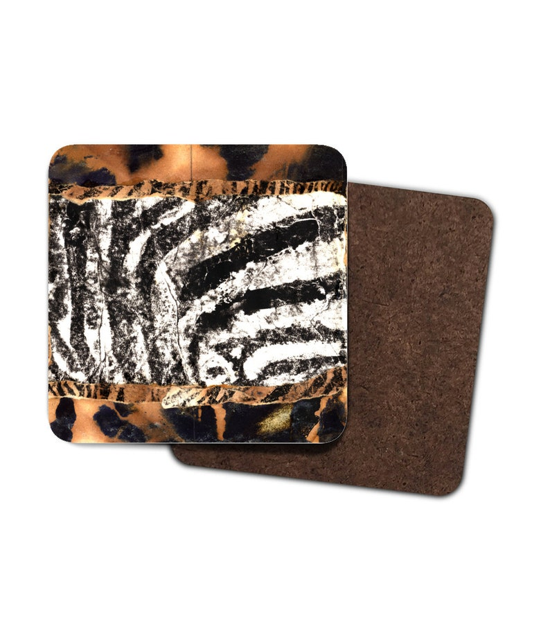 4 x Ink and Collage Zebra Print Coasters image 0