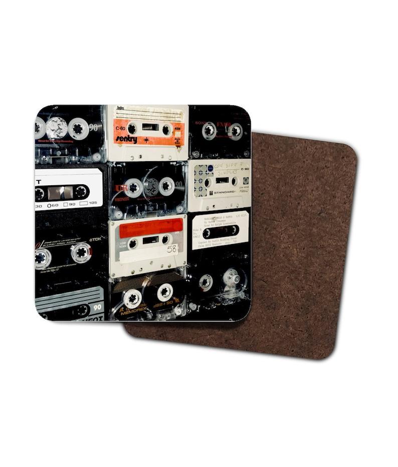 4 x Cassette Print Coasters image 0