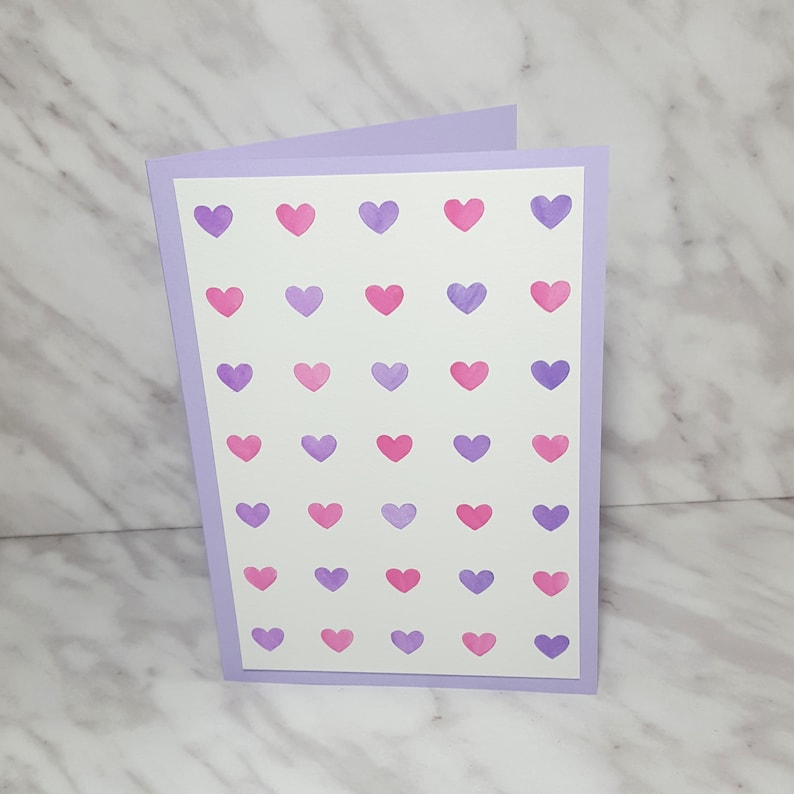 Pink & Purple Watercolour Hearts Card  Baby Wedding image 0