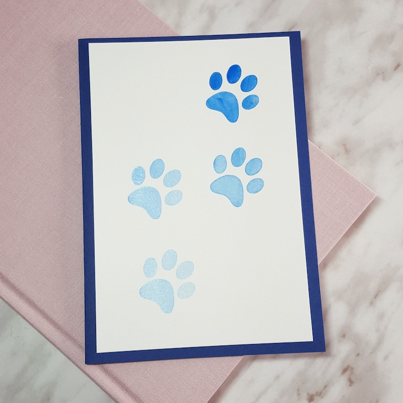Blue Ombre Animal Paw Print Watercolour Card  Animals image 0