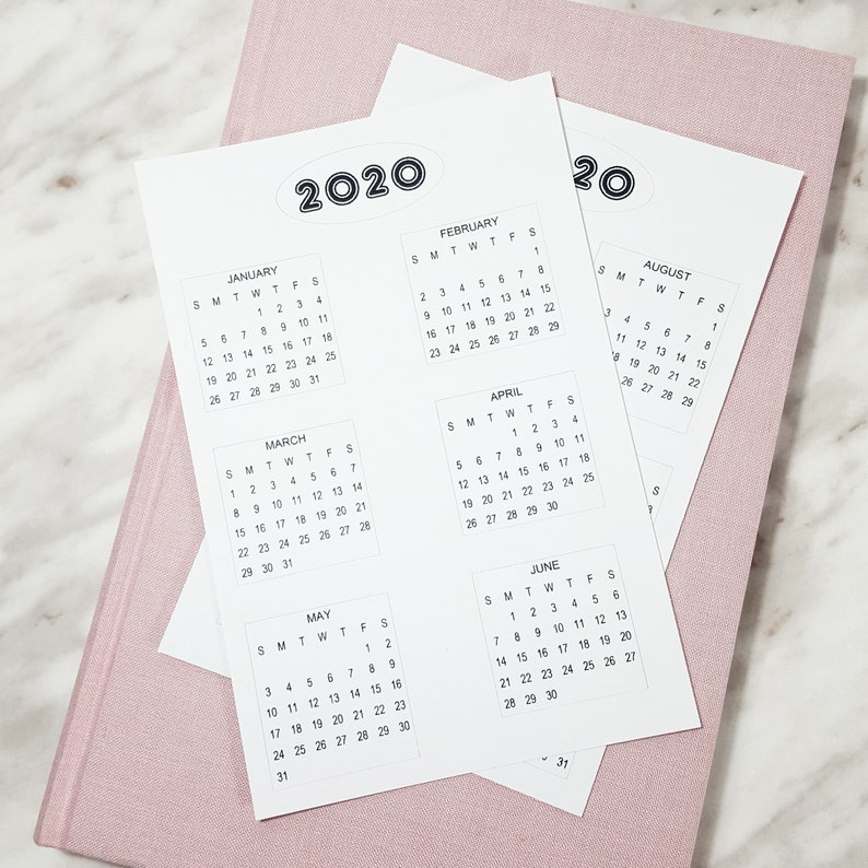 2020 Mini Calendar Bullet Journal Stickers  Year at a Glance image 0