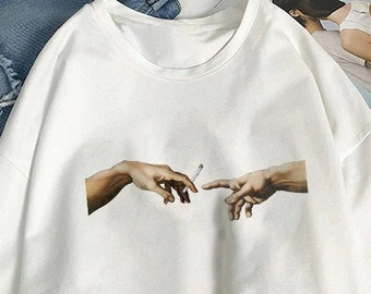 219401f23f29 The Creation of Adam Passing Joint Michelangelo Sistine Chapel T-Shirt / Unisex  Tee / White / S-XXL