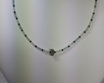 Aquamarine, Moonstone and Spinel Necklace
