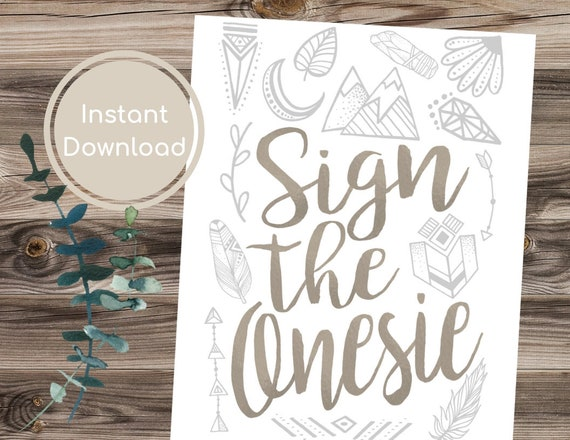 Sign the Onesie Guestbook Baby Shower Guestbook Sign Floral Baby Shower Sign Flowers Baby Shower Decorations Printable Sign Bohemian 107