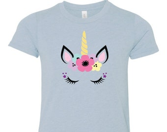 Youth Unicorn T Shirt on Ice Blue Triblend