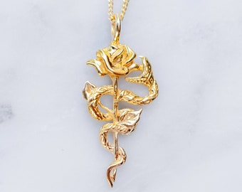 Snake and Rose Necklace    24K Gold Plated Pendant Jewelry for Women and Men, Gothic, Cool, Serpent