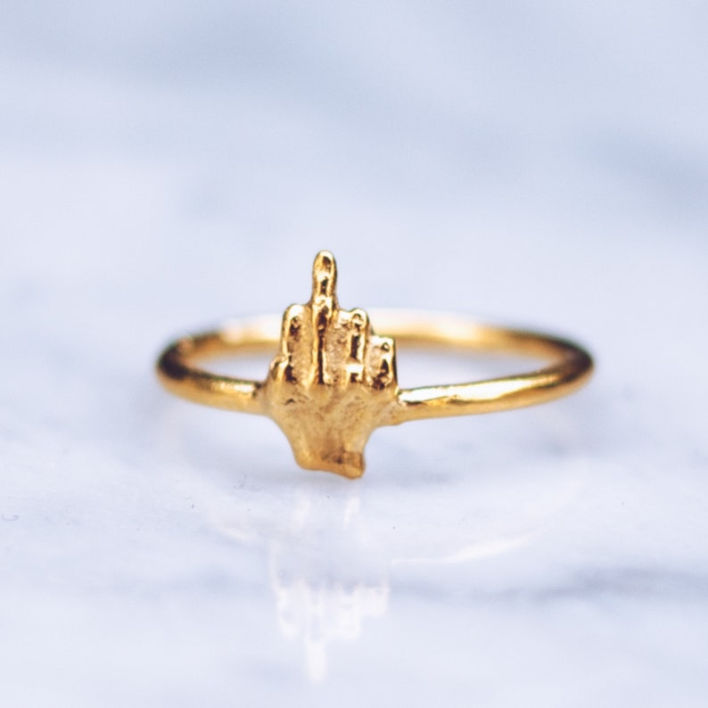 14K Gold Middle Finger Ring  Fashion Rings for Women Gold image 0