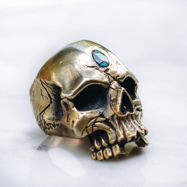 Turquoise Skull Ring for Men Women  Gold Brass Cool Men's image 0