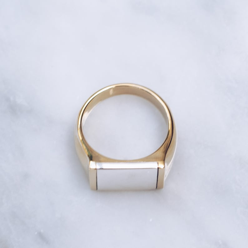 Unique Mens Ring Gold Brass Sterling Silver Square Rings Mixed Metal Ring Flat Top for Men and Women Pinky Ring