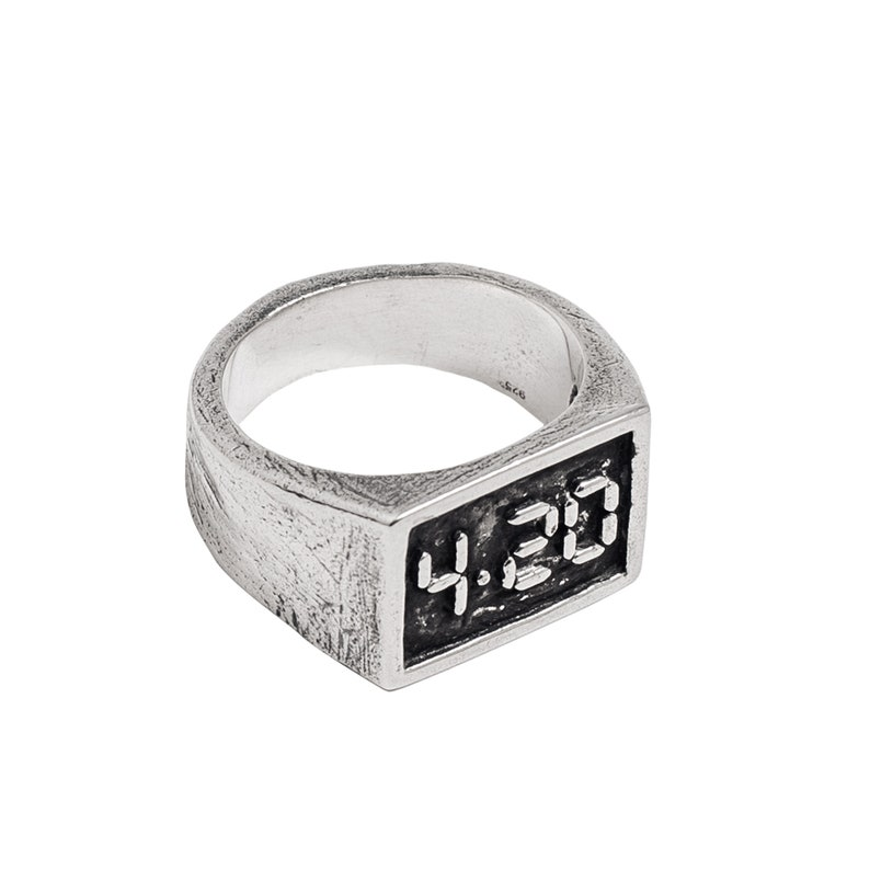 Flat Top Rectangle Ring Pinky Ring for Men Cannabis Jewelry Gifts 420 Marijuana Ring for Men Women