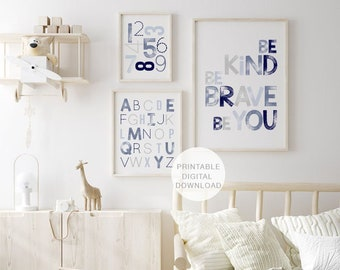 Set of 3 Prints, Alphabet Numbers & Be Kind Be Brave Be You Poster, Printable Wall Art, Playroom Decor, Nursery Decor, DIGITAL DOWNLOAD