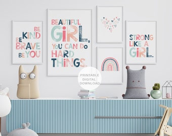 Set of 5 Girls Empowering Prints, Printable Wall Art, Girls Room Decor, Kids Affirmation Prints, Printable Art, DIGITAL DOWNLOAD