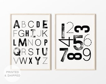 Set of 2 Prints, Alphabet and Numbers Poster, Mailed Prints, Shipped Prints, Nursery Decor, Playroom Decor, Kids Wall Art, PRINTED & SHIPPED
