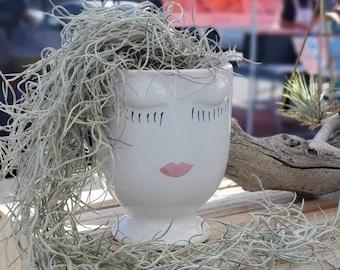 Face Planter Pot with Spanish Moss Airplant Arrangement
