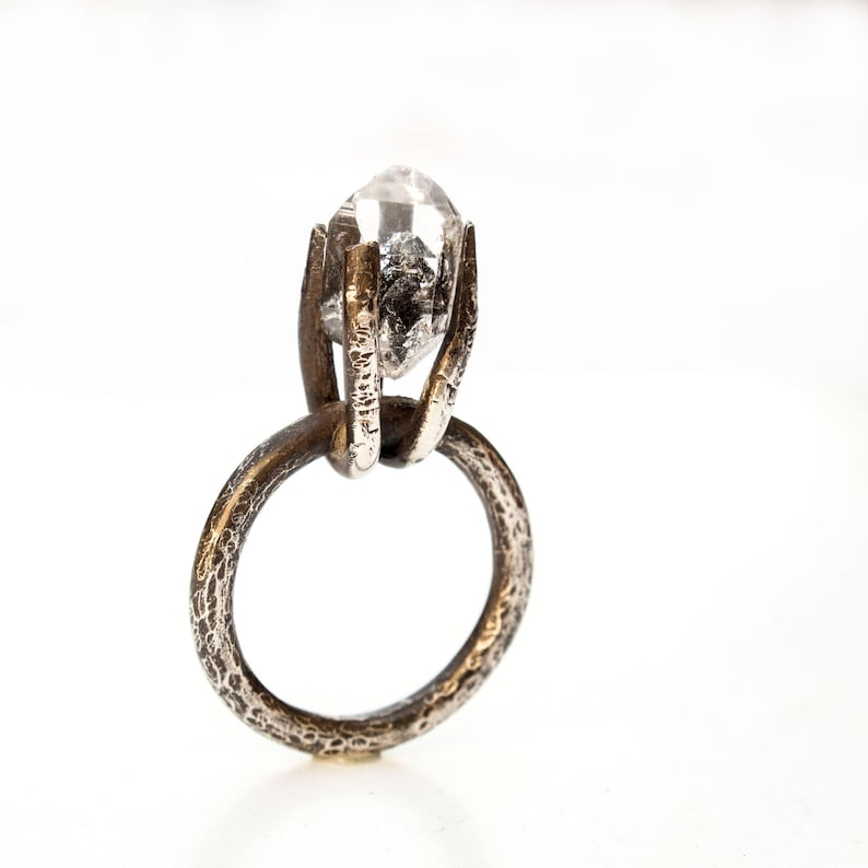 Herkimer Diamond Quartz Ring hammered sterling silver ring One of kind jewelry Black Silver Ring