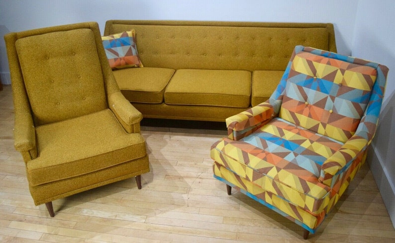 Awe Inspiring 1950S Living Room Set Yellow Gold Sofa Couch Chairs Mid Century Modern Mcm Interior Design Ideas Tzicisoteloinfo