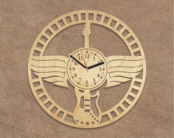 Wooden Clock Birthday Gift Electric Guitar Dad Gifts Wood Wall Art Farmhouse Decor For Boyfriend Musician