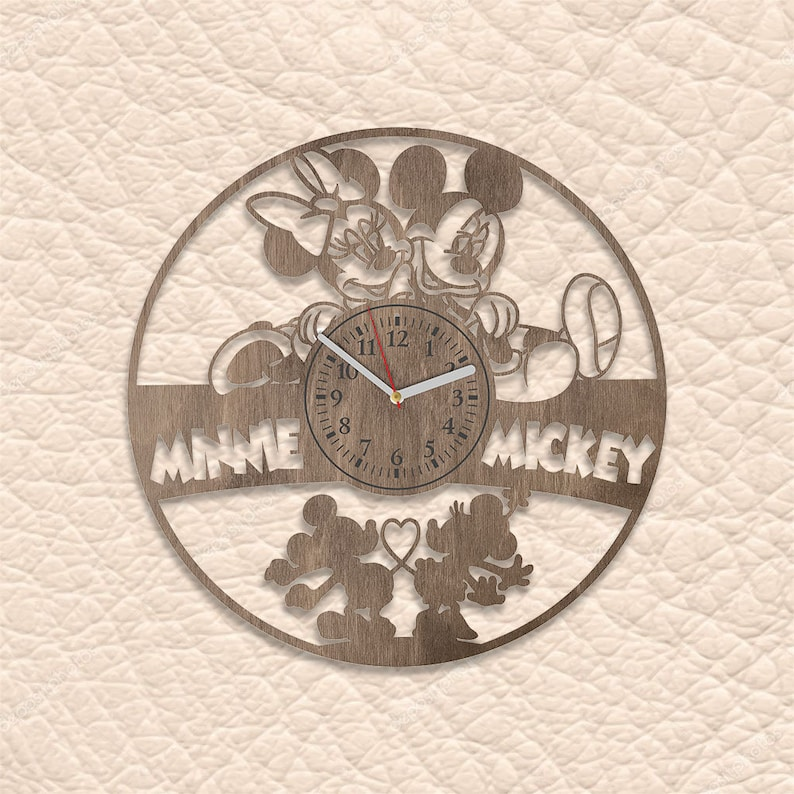 Farmhouse Decor Wood Clock Minnie Mouse Ears Unique Wall Clock Minnie Mouse Wood Wall Art Rustic Home Decor Disneyland Nursery Mickey Mouse