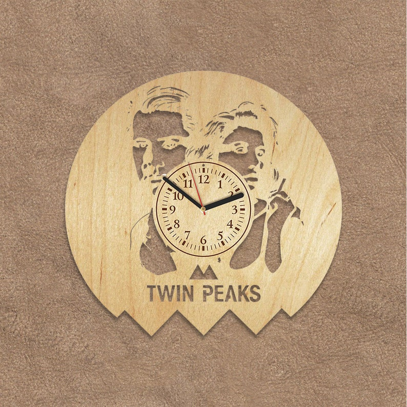 Wooden Wall Clock Twin Peaks Wood Brother Gift David