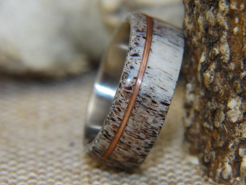 Antler Ring Copper Wire Deer Antler