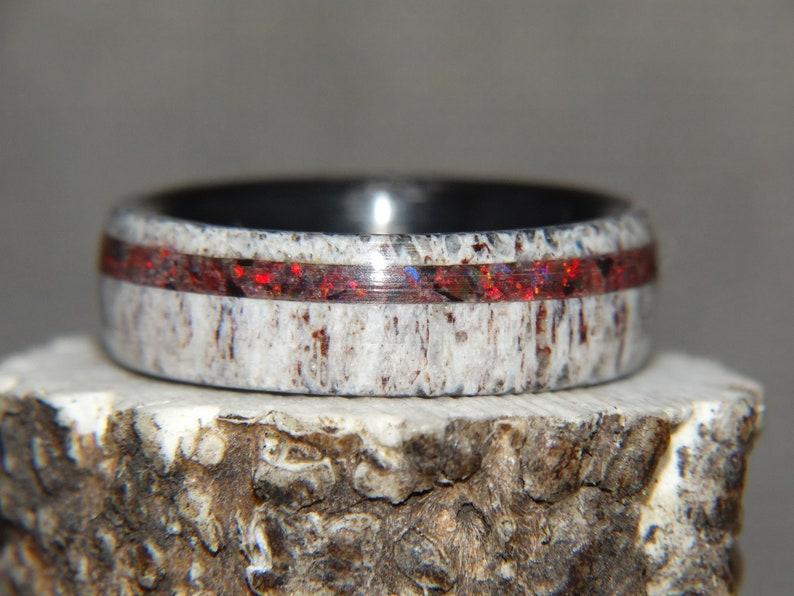 Fire Opal Deer Antler Antler Ring