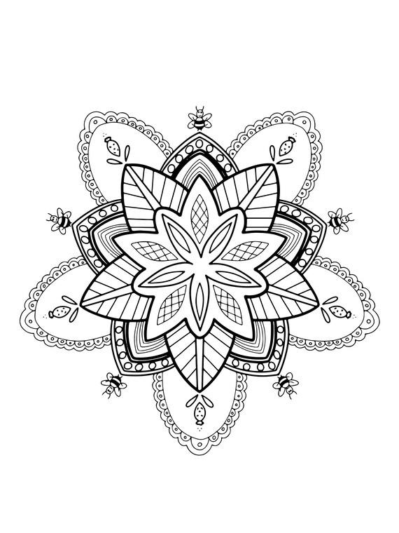 Coloriage Mandala Pour Adulte Etsy