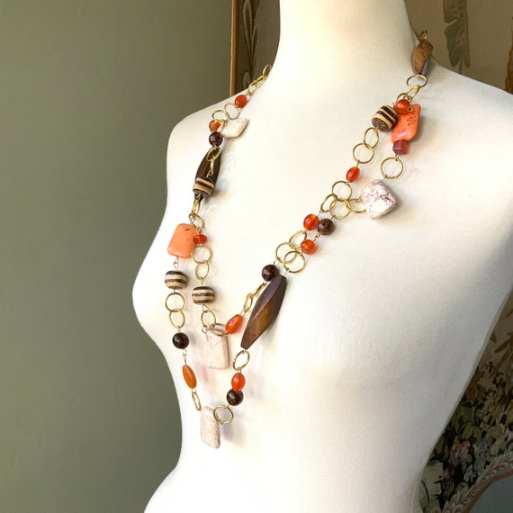 Chunky jasper beads with gold-colored square accent beads