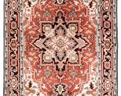 Area Rug 5x8 Indian Rug Red Rug for Living Room, Bedroom, Handmade Wool Rug, Royal Heriz