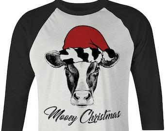 57880c39 Mooey Christmas Cow with Santa Hat Raglan Tee, Cow with Santa Hat Tee, Heifer  Christmas Tee