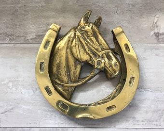 Brass Door Knocker, Horse Brass Front Door Knocker, Equine Door Knocker,  kitchen Door Knocker, back Door Knocker, horseshoe Door Knocker