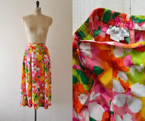 1980s Silk Diane Von Furstenberg Skirt / vintage b