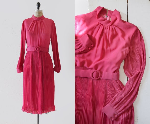 1960s Hot Pink Pleated Midi dress / vintage belted