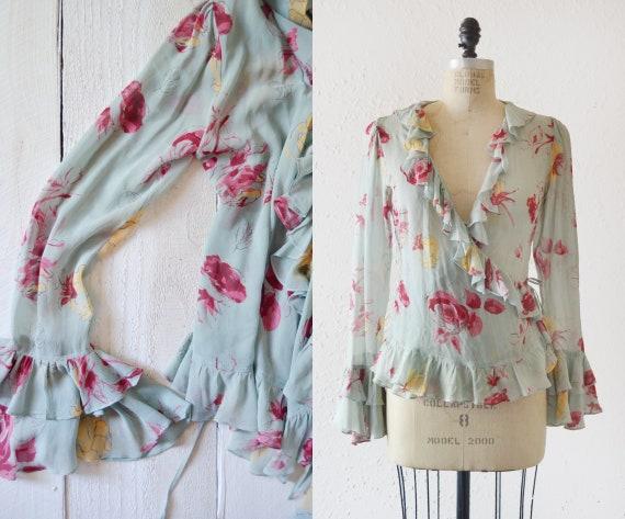 2000s Floral Silk Crepe Wrap Blouse / vintage ruff